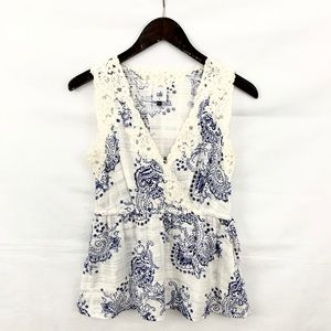 CAbi Veranda Paisley Blue & White Sleeveless Top